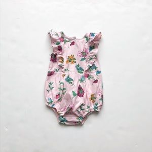 Old Navy pink floral print romper EUC 6-12 months